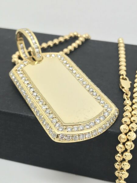 Big 14kt Yellow Gold Real Diamond Pave Dog Tag Pendant Mens Charm 4.9ct Necklace