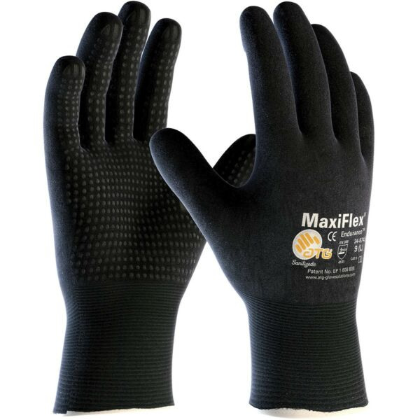 MaxiFlex Endurance Nitrile Coated Nylon Lycra Work Gloves, Black