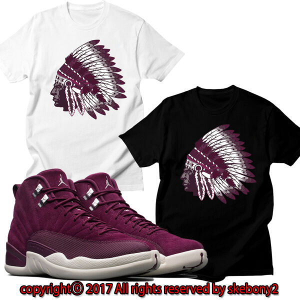 NEW Nike Air Jordan XII Retro 12 Bordeaux Sail White CUSTOM T SHIRT JD 12-1-16