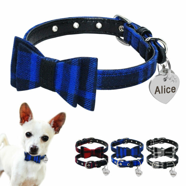 """8 11"""" """"Cute Bowtie Grid Personalized Dog Collars Free Name Phone Engraved Custom $8.49"""