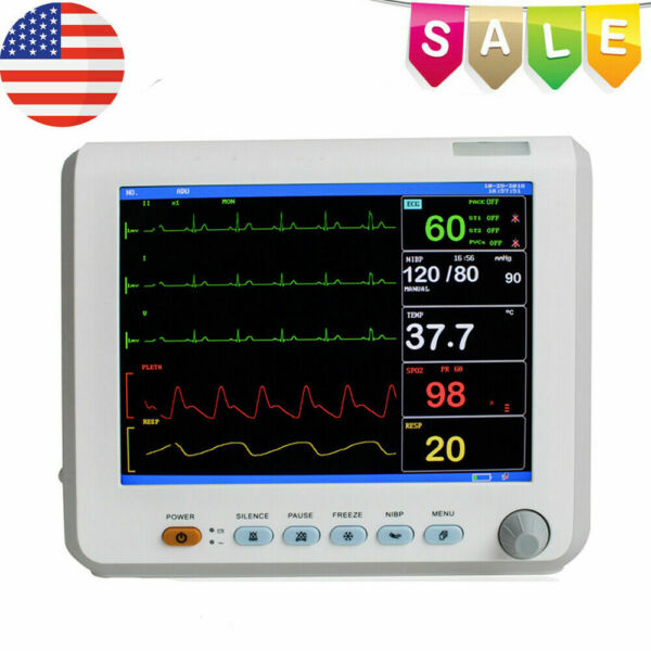 ICU CCU 6-parameter Vital Sign Patient Monitor ECG NIBP RESP TEMP SPO2 PR FDA