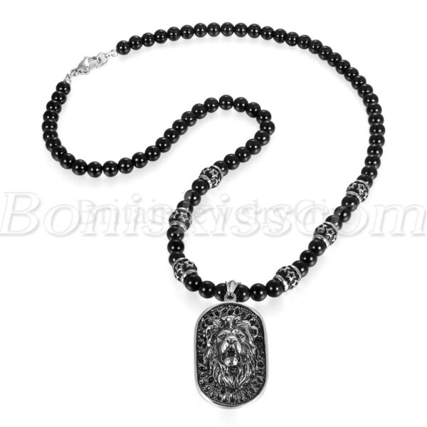 Men#x27;s Vintage Stainless Steel Lion Head Shield Pendant Onyx Beads Chain Necklace $21.99