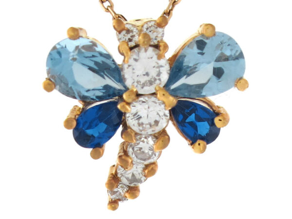 10k or 14k Yellow Gold Multi-color CZ Charming Dragonfly Slide Pendant