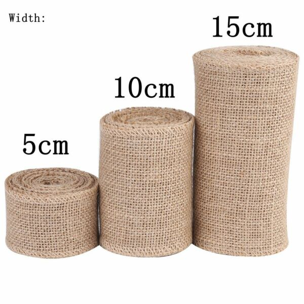 Fabric Burlap Ribbon Roll Handmade Linen Trim Tape For Wedding DIY 5 10 15cm IS