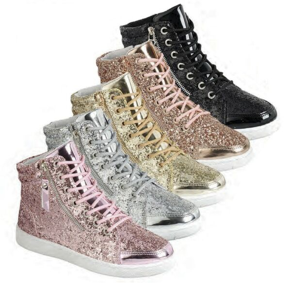 New Womens Hi Top Glitter Lace Up Fitness Trainer Fashion Sneaker Ankle Booties