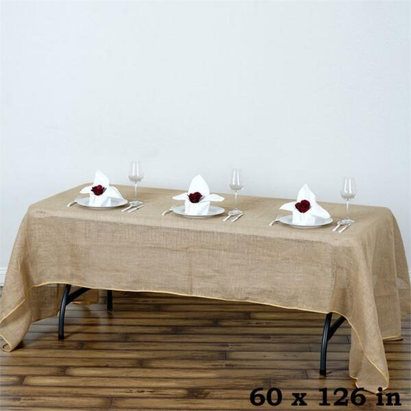 Natural BURLAP 60x126quot; Rectangle TABLECLOTH Country Wedding Party Catering Linen