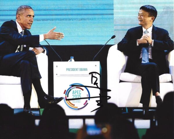 ALIBABA FOUNDER CEO JACK MA SIGNED 8x10 INCH PHOTO wCOA CHINESE INVESTOR YUN