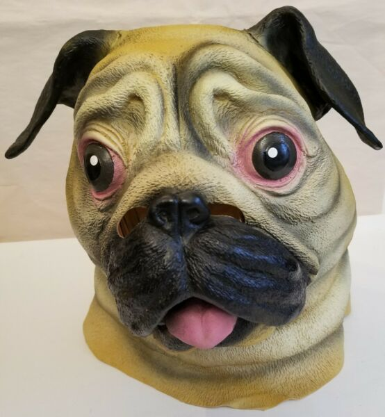 BigMouth Inc Pug Dog Mask Life-like Painted Latex Rubber Pooch Pup Mutt New