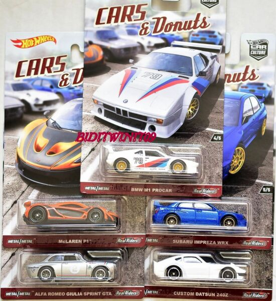 HOT WHEELS 2017 CAR CULTURE CARS DONUTS SET OF 5 DATSUN SUBARU BMW