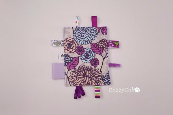 Tag Toy Sensory Toy Purple Florals Baby Sensory Toy Stroller Taggie Toy $10.00