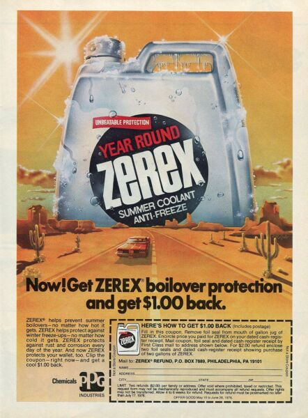 1976 Zerex Year Round Summer Coolant & Anti-Freeze PPG Coupon Print Ad