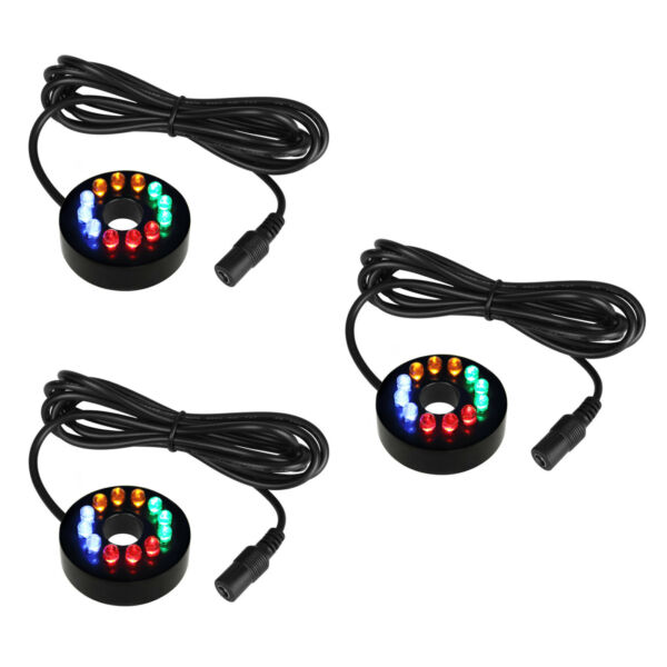 3 Pack 12 LEDs Fountain Ring Lights Auto Colored Changing Submersible Water Pump