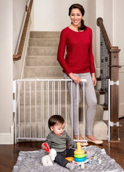 Regalo Extra Tall Top Of Stairs Gate With Banister and Wall Mounting Kits 34 ...