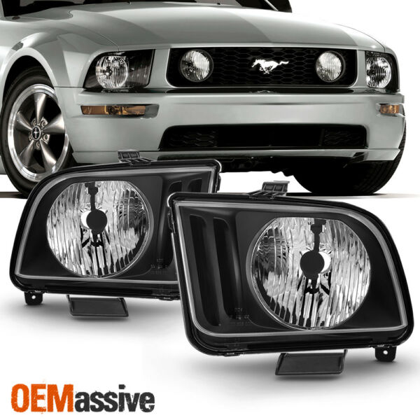 Fit 2005 2006 2007 2008 2009 Ford Mustang Black Headlights Pair Lamps Left+Right