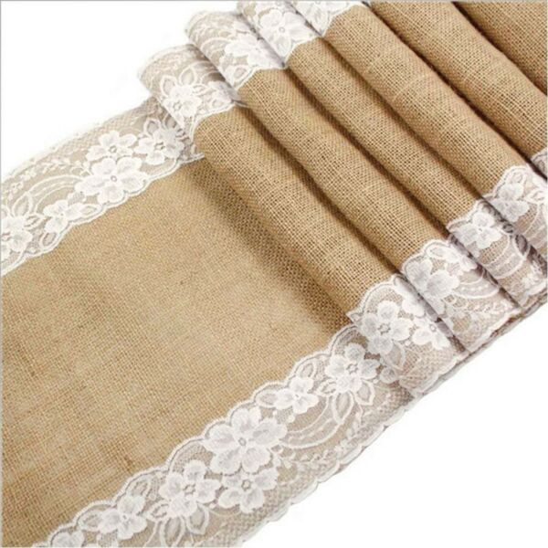 Awtlife 12 x 120 Inch Burlap Table Runner for Wedding Bridal Shower Baby Show...