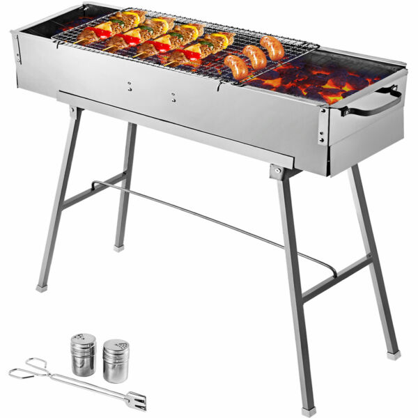 BBQ Charcoal Grill 32#x27;#x27; Party Griller Stainless Steel BBQ Garden Camping Grill