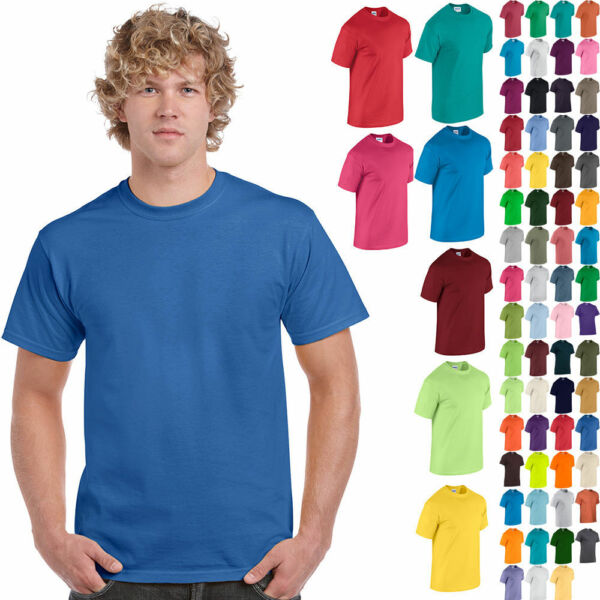 Gildan T-Shirt Tee Men's Short Sleeve 5.3 oz Heavy Cotton Solid Blank 5000 NEW