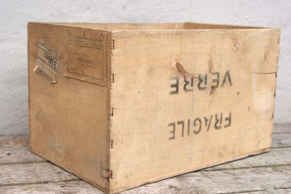 Vintage French Shipping Crate Pine Box Storage Wine Wooden Shop Bar Cafe Display