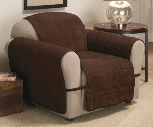 Box Quilted Faux Suede Ultimate Furniture Protectors Brown CHAIR NEW $15.00