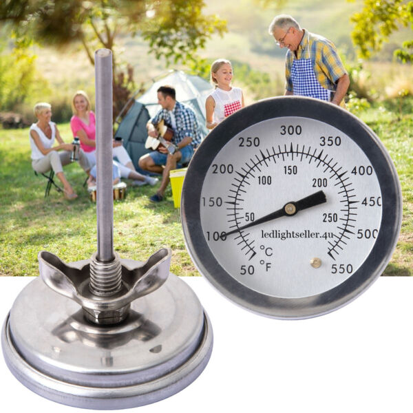 Barbecue Thermometer Gauge 0 300℃ Stainless Steel BBQ Smoker Grill Temperature