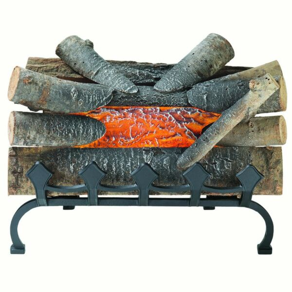 Pleasant Hearth 20 Natural Wood Electric Crackle Log Fireplace With Grate