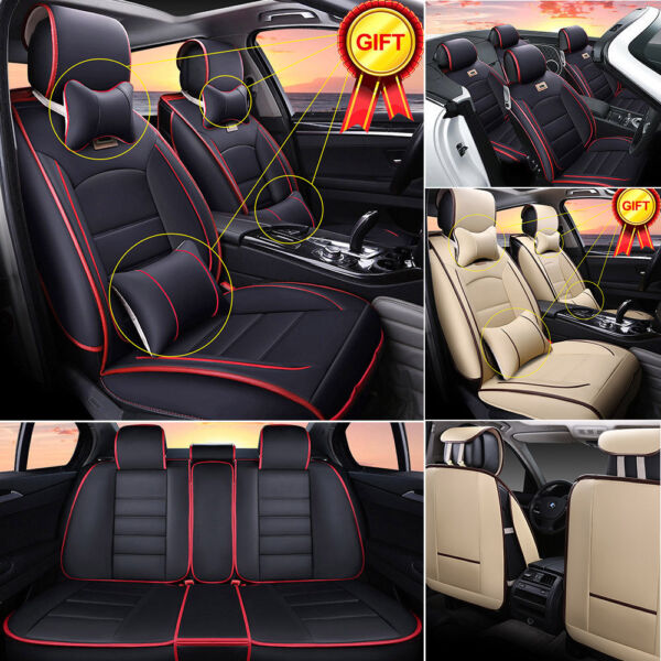 Deluxe PU leather Car SUV Seat Cover Full Set Front+Rear Cushion 5-Seats +Pillow