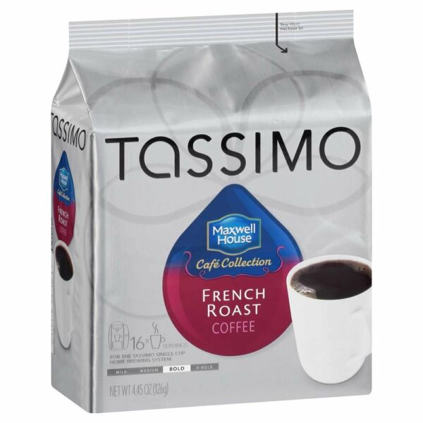 Maxwell House French Roast Coffee Bold Roast T-Discs for Tassimo Brewing