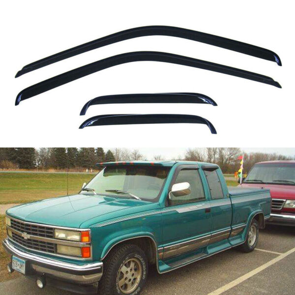 4pcs SunRain Guard Vent Shade Window Visor Fit 88-00 ChevyGMC CK Extended Cab