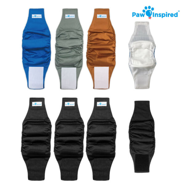 Paw Inspired Reusable Washable Male Dog Wraps Belly Band for Male Dog Diapers $21.99