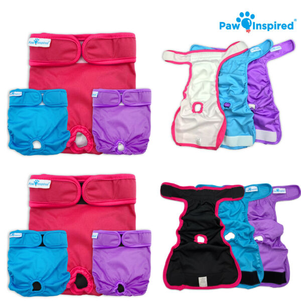 Paw Inspired Reusable Washable Dog Diapers Female Diapers for Dog Heat XS XL $19.99