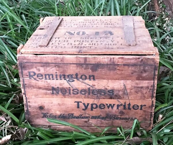 Antique Remington Wooden Crate Noiseless Typewriter Advertising Very Rare