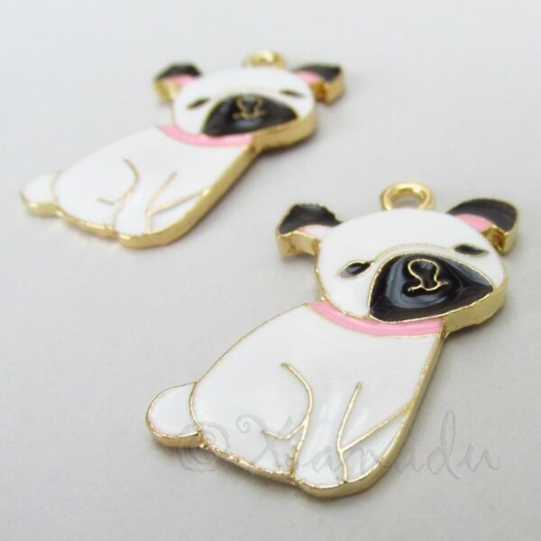 Pug Puppy Dog Charms 33mm Gold Plated Enamel Pendants C2432 1 2 Or 5PCs $1.50