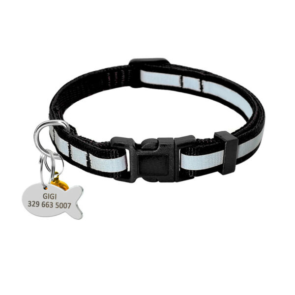 Black Safety Reflective Personalized Nylon Boy Dog Collars for Small Medium Dogs $4.99