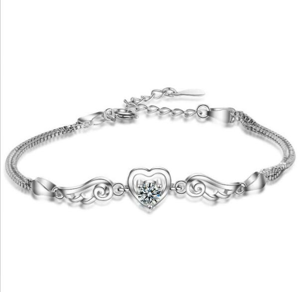 Micro-inlay CZ 925 Sterling Silver Lovely Hearts Angel Wing Chain Charm Bracelet