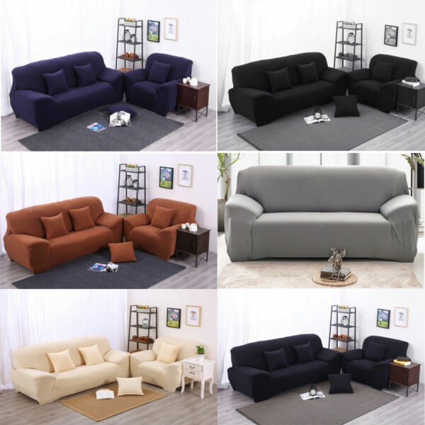 1 2 3 4 Seat Stretch Sofa Loveseat Cover Slipcover Elastic Couch Protector Set $19.09