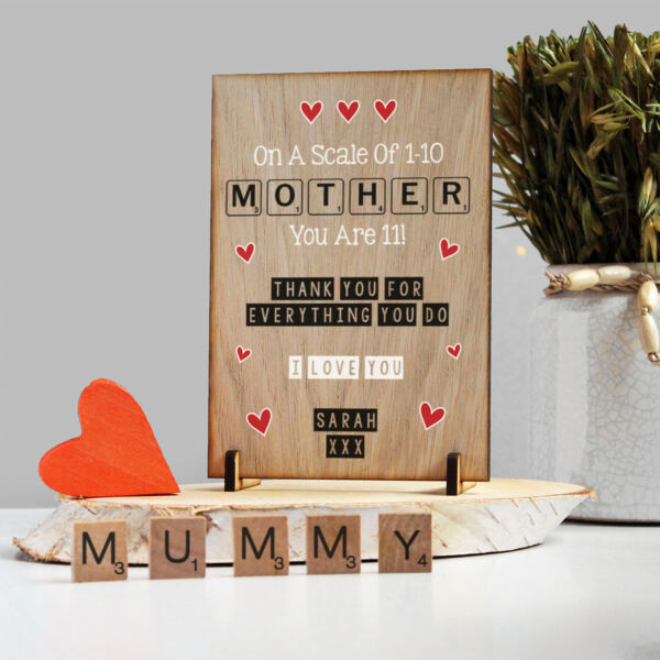 Personalised Scrabble Style Birthday Wooden Card Gift for MUM MUMMY MAM MOM