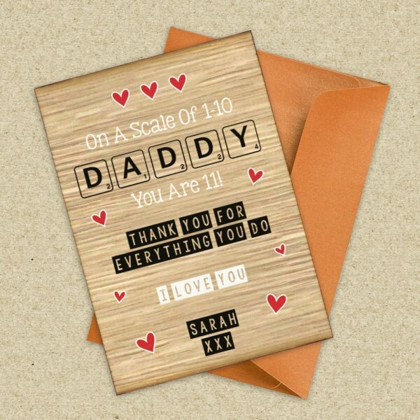 Personalised Scrabble Style Wooden Card Birthday Father's Day Card For Dad Daddy