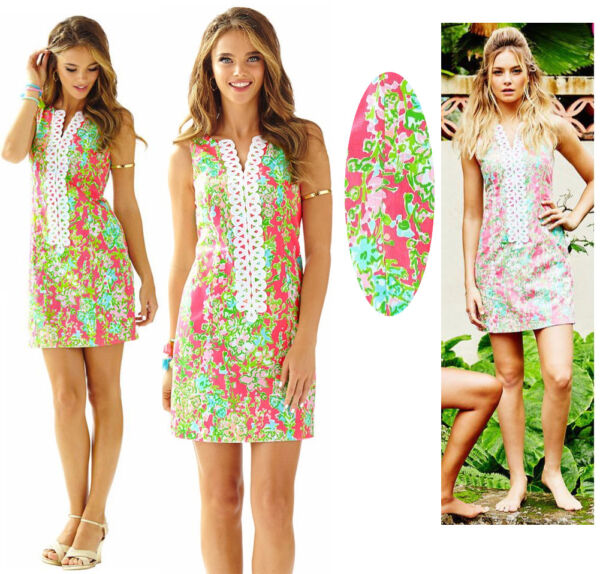 $188 Lilly Pulitzer Cathy Flamingo Pink Southern Charm Lace Front Shift Dress
