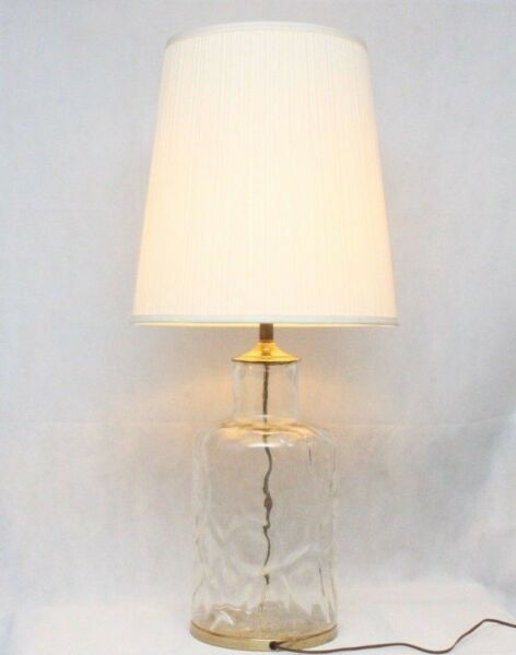 Vintage Clear Glacier Glass Brass Tea Caddy Chinoiserie Table Lamp