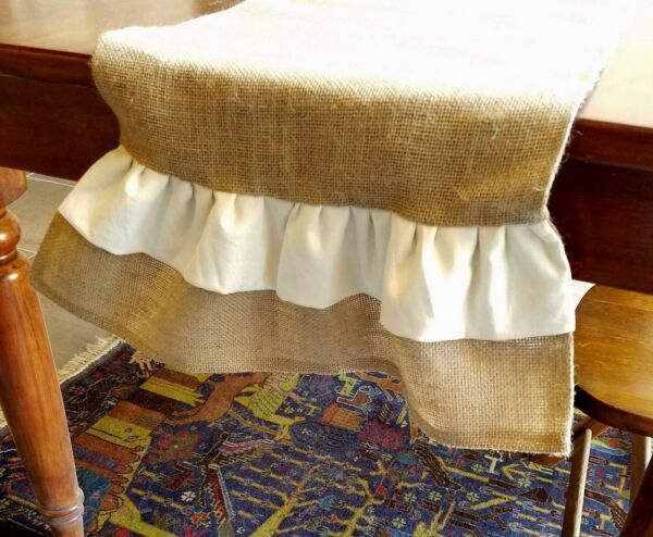 Natural Burlap Table Runner with Ivory Linen amp; Burlap Ruffles Various Sizes