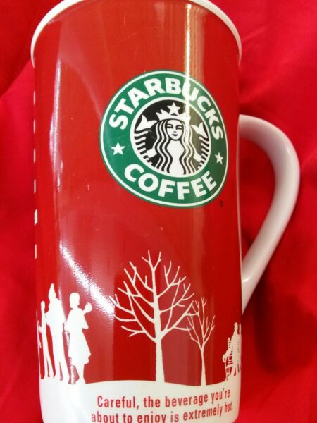 Starbucks 2006 Holiday Coffee MugCup Red and White Winter Theme 16 oz