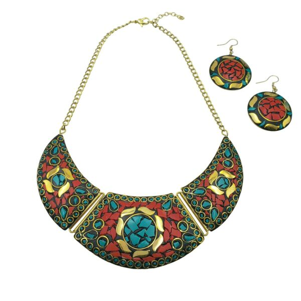 Antique Jewelry Tibetan Solid Brass Bib Collar Turquoise Coral EarringNecklace