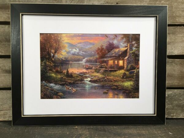 Framed Log Cabin And Lake Print Country Primitive home Decor Picture