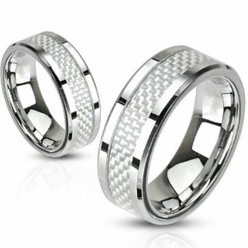 Steel White Carbon Fiber Inlay Band Ring Size 567891011121314 FL241 $7.95