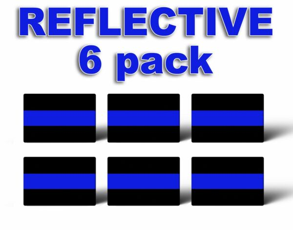 PACK OF 6 REFLECTIVE THIN BLUE LINE License Plate Decals Stickers Police Trooper $2.85
