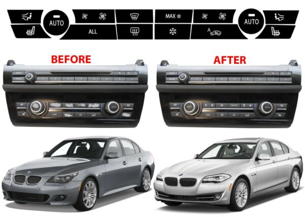 2009 2015 BMW 5 Series Replacement Climate Control Button Stickers New Free Ship $19.99