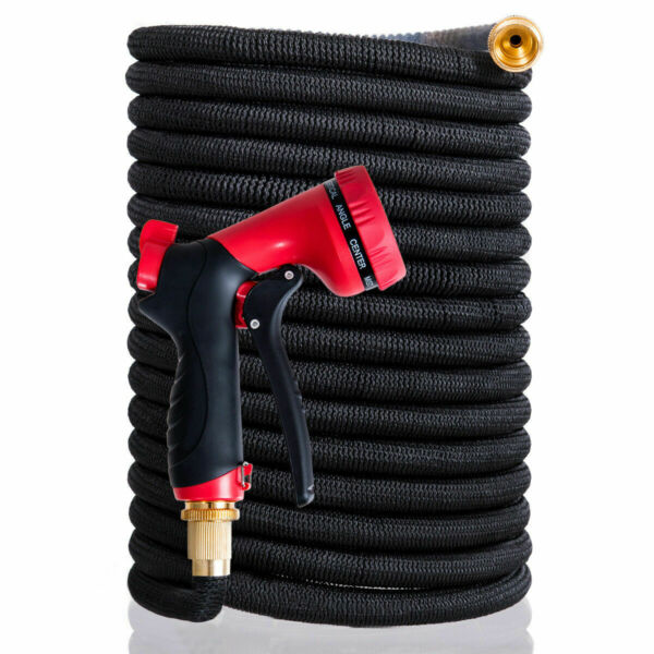 Garden Hose Pipe 100ft Expandable Magic  Stretch Hosepipe 9 Function Spray Gun