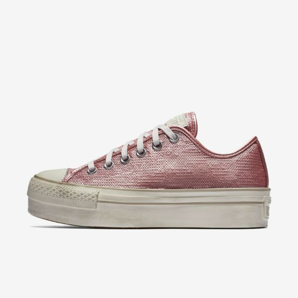 Women's Converse CTAS SEQUIN PLATFORM LOW TOP Distresse, 559045C Sizes 6-11 Pink