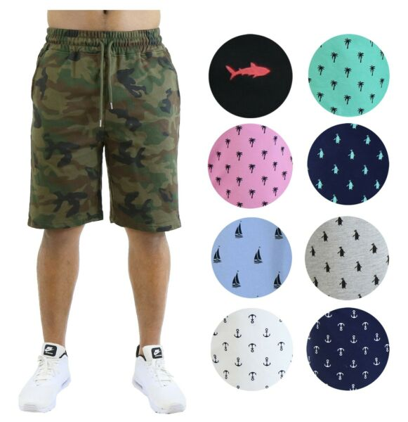 Mens Printed Shorts French Terry Lounge Athletic Sweat Shorts Gym Beach Sports $14.94