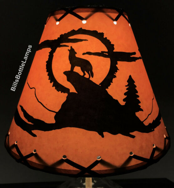 Coyote Dog Table Light Cabin Cottage LAMP SHADE Clip On Bulb Style 9quot; Laced Cone $28.99